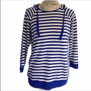 Gap Blue & White Striped Hooded Top M